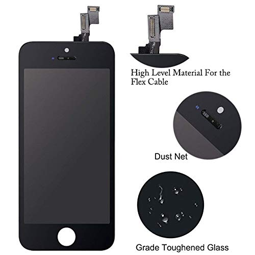 for iPhone SE LCD Display Touch Screen Digitizer Replacement with Repair Kit + Tempered Glass (Black) by QIANZEY666 (Image #2)