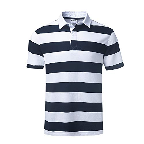 Men's Short Sleeve Polo Shirt Casual Striped Classic Cotton T-Shirt Henley Shirt(X-Large, White/Navy)