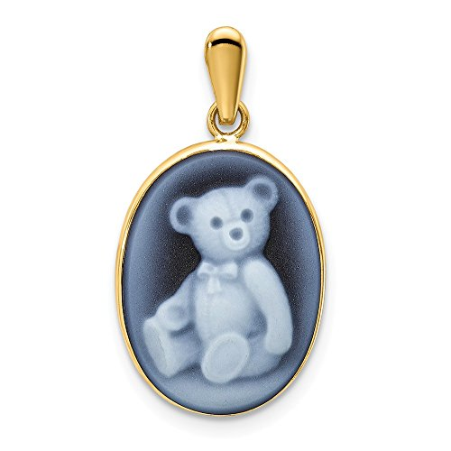 14K Yellow Gold 12x16 Teddy Bear Agate Cameo Pendant