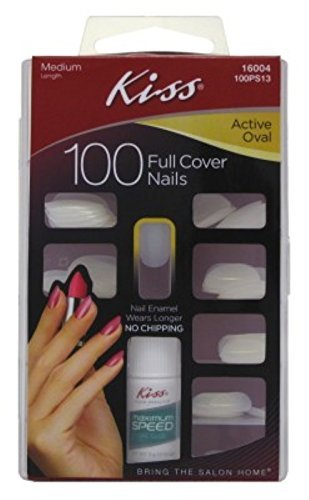 Kiss 100ps13 100 Count Active Oval Full Cover Nails by Kiss by Kiss
