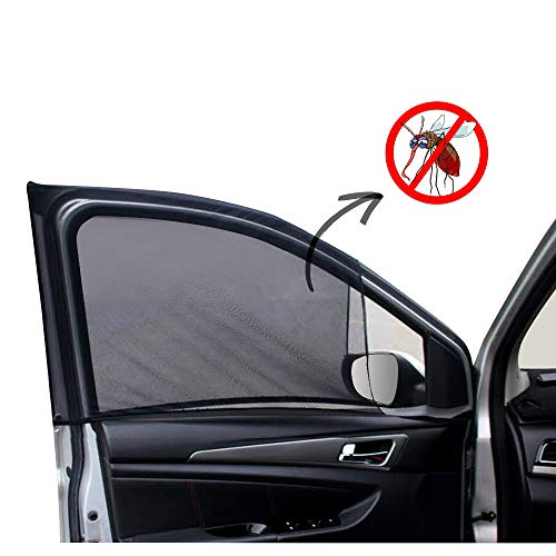 Sushiyi Sun Shade for Car Side Window, 2 Pack Breathable Mesh Protect Kid/Pet Form Sun Glare and UV Ray, Universal Car Shade Windshield Curtains Fit for 99% Car, Trucks and SUVs (Front Window)