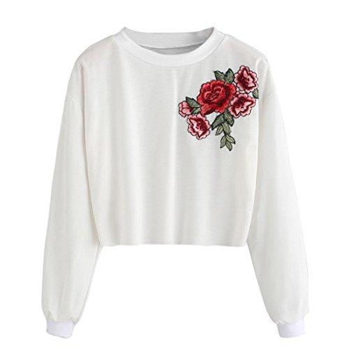 Rose Embroidery Applique Top, Litetao Women Girls Fashion Sweatshirt Pullover Blouse (S, White)
