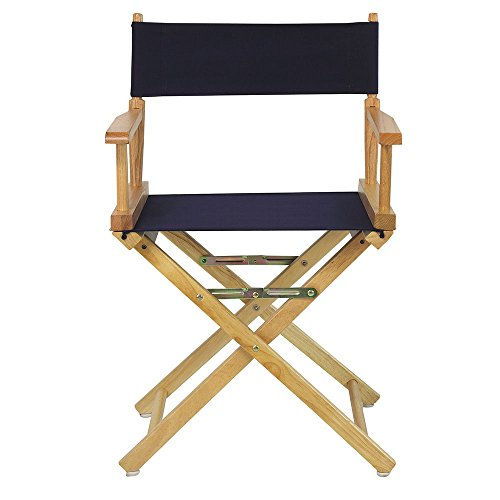 Casual Home Natural Frame Canvas Director Chair, 18', Navy Blue