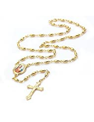 My Times_CA_Jew: Vintage 18K Gold Plated Long Necklace Pendants For Women Men Christ Rosary Pray Bead Blessed Jesus Cross Necklace Pendants 23