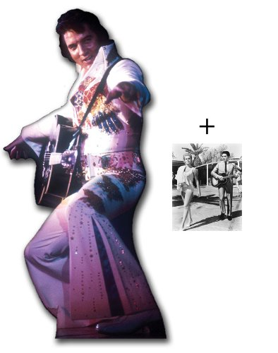FAN PACK - ELVIS IN WHITE JUMPSUIT WITH GUITAR - LIFESIZE CARDBOARD STAND-IN (CUTOUT / STANDEE / STANDUP) - INCLUDES 8X10