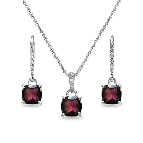 Sterling Silver Garnet Cushion-Cut Solitaire Dangle Leverback Earrings & Pendant Necklace Set