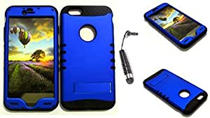 CellTx Shockproof Hybrid Case For Apple (iPhone 6 Plus) and Stylus Pen, Black Soft Rubber Skin with Hard Cover (Non Slip, Blue) AT&T, T-Mobile, Sprint, Verizon, Boost Mobile, U.S Cellular, Cricket by runtopwell