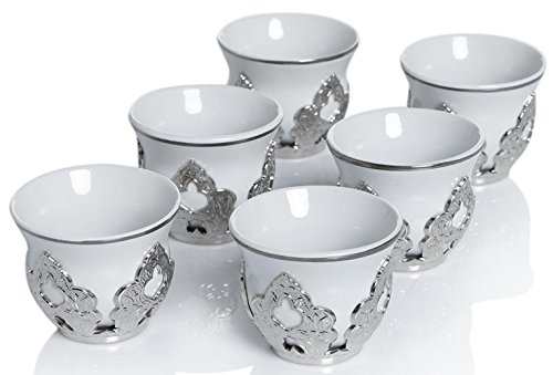 (Set of 6 Arabic Turkish Greek Coffee Mirra Porcelain Cups with Holders Kava Gava (Silver))