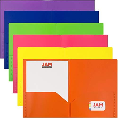 JAM PAPER Plastic 2 Pocket School POP Folders - Assorted Primary Colors - 6/pack (Plastic Double Pocket Folder)