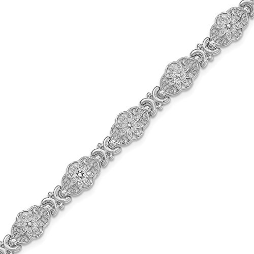 14k Gold Flower Link Bracelet with Lobster Clasp with Scalloped Edge (8.4mm) - White-Gold, 7.25 in