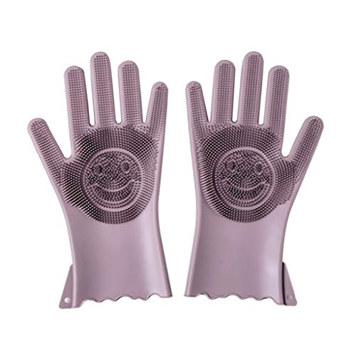 Household Gloves - 1 Pair Magic Reusable Silicone Household Gloves Cleaning Brush Scrubber Heat Resistant Dish Washing - Disposable Women Free Large Lined Latex Cotton Gloves Duty Heavy Small Ext