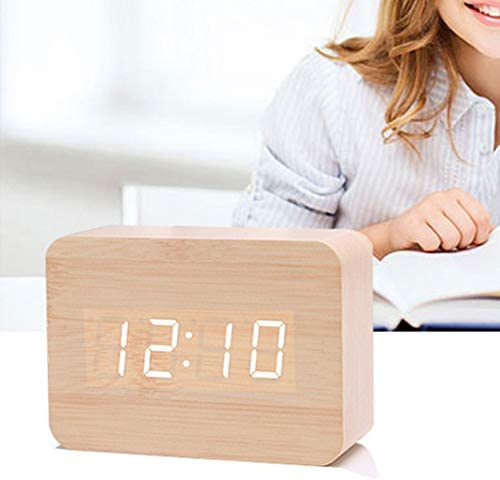 LULAA 木製目覚まし時計 LED 目覚まし時計  置き時計  時間/温度/表示   音声制御  3つのアラーム 音声感知  電池給電 USB給電 現代感