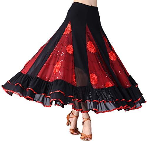 Prettyia Floral Sequin Latin Salsa Cha Cha Flamenco Ballroom Dance Dress Tango Waltz Skirt Stage Performance Costume - Red, as described