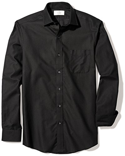 (BUTTONED DOWN Men's Classic Fit Supima Cotton Spread-Collar Textured Dress Casual Shirt, Black, XXX-Large 38/39 (Big and Tall))