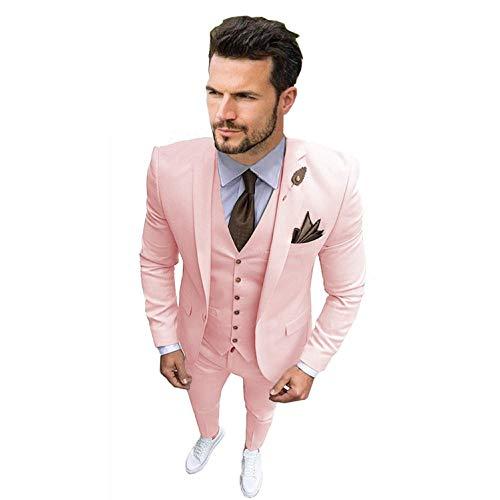 Men's Suit 3 Pieces Suit for Men Slim Fit Suit Blazer Jacket Vest Pants Wedding Tuxedo for Groom Pink