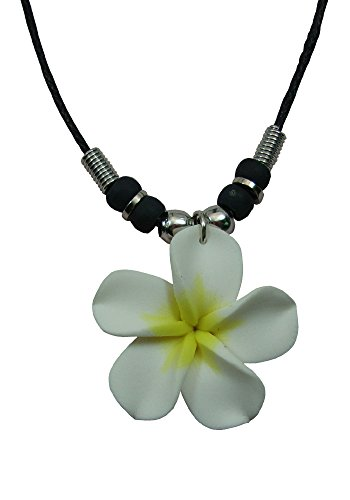 Hawaiian Womens Handmade Fimo Plumeria Flower Pendant With Black Cord Necklace (White (Plumeria Flower Pendant)