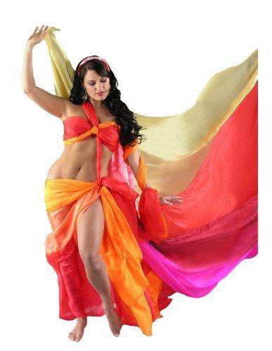Dahlal Internationale Belly Dance Costumes (Solid Silk Veil (Silk Belly Dance Veil for Bellydance in Kelly Green))