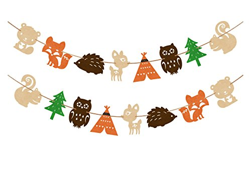Woodland Creatures Banner Forest Animal Friends Felt Garland Baby Shower Decor ()