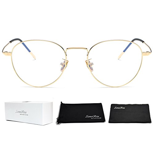 SamuRita Ultra Thin Classic Metal Round Oval Glasses Full Rim Clear Lens Sunglasses Eyeglasses Frame(Gold - Full Metal Rim Eyeglasses