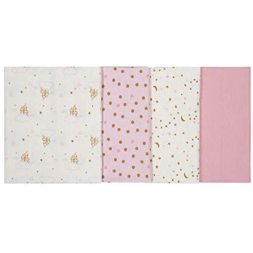"GERBER Baby Girls 4-Pack Flannel Burp Cloth, Princess Arrival, 20"" x 14"""