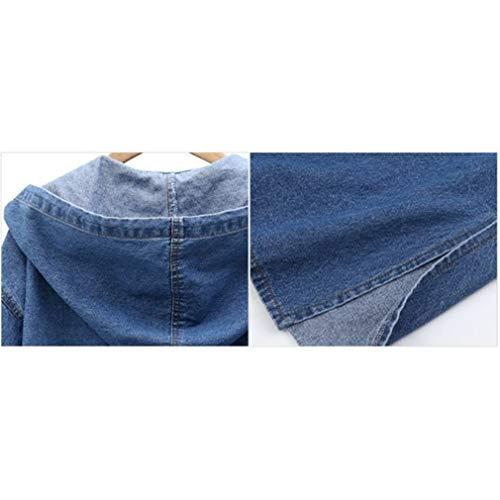 Lunga Jacket Outwear Autunno Jeans Giubbotto Capispalla Vintage Single L 2 Denim Hibote Cappuccio Breasted Giacca Manica Primavera 4xl Inverno Donna Cappotti qAFvFw0