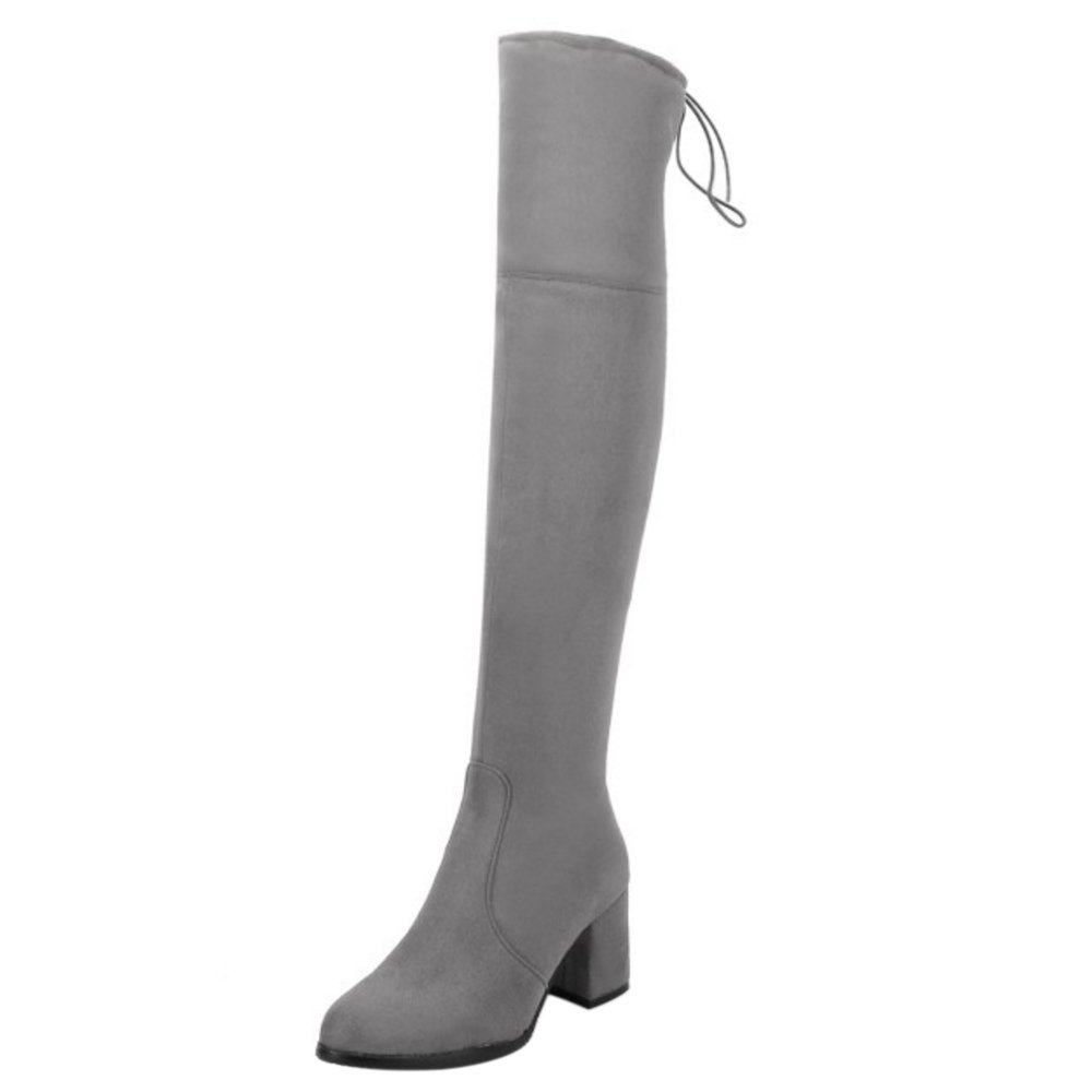 COOLCEPT Gray Femmes Bottes Over Fermeture COOLCEPT Eclair Over Knee Gray 4e79fde - fast-weightloss-diet.space