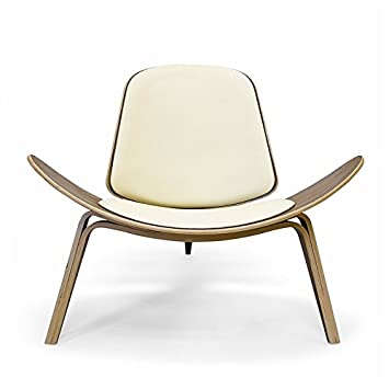 Wegner Shell Chair - Cream Leather