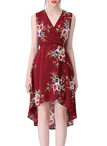 Asymmetrical Floral Prom Dress - 5