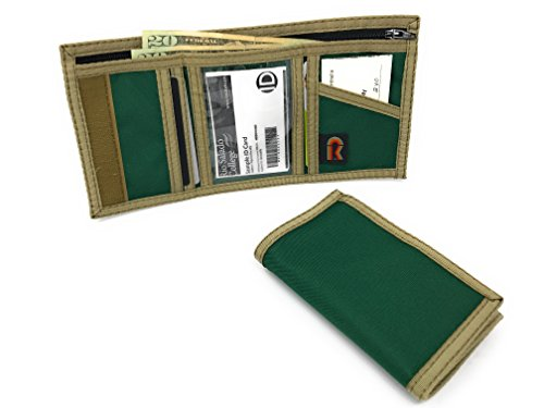 (RFID Nylon Trifold Hook and Loop Wallet. w/Inside ID Window. Made in USA (Hunter Green) )