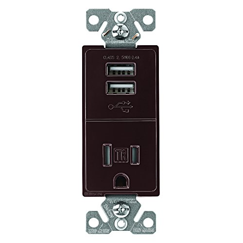 - EATON TR7741B-BOX USB Charger with Single Tamper Resistant Receptacle, Brown