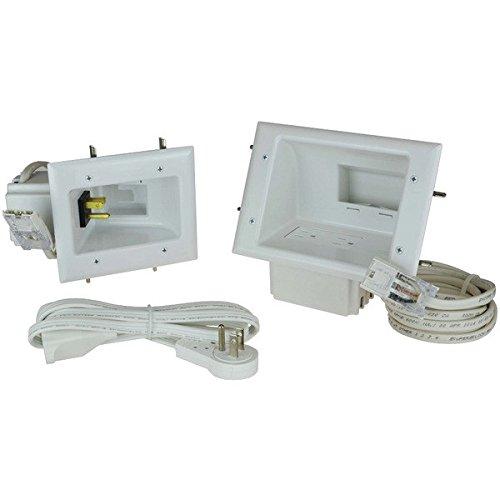 Datacomm Electronics 50-6623-WH-KIT Flat Panel TV Cable Organizer Kit with Power ()