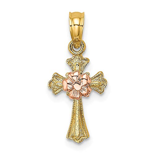 14k Two Tone Yellow Gold Cross Religious Small Flower Pendant Charm Necklace Budded Latin Fine Jewelry Gifts For Women For Her 14k Budded Cross Pendant