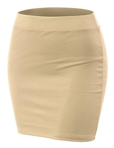 Skirt Womens Beige (Doublju Stretch Knit Bodycon Mini Skirt for Women with Plus Size Oyster Small)