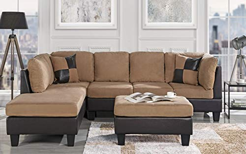 3-Piece Modern Reversible Microfiber / Faux Leather Sectional Sofa Set w/ Ottoman (Hazelnut) (Microsuede Sectionals)