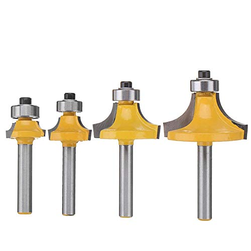 (Eyech 4Pcs Round-Over Router Bits 1/4 Inch Shank Corner Rounding Edge-forming Roundover Beading Router Bit Set - 5/16