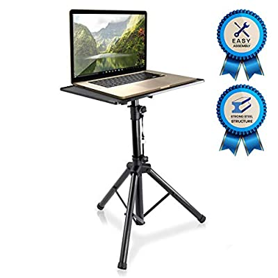 "Pro 28""- 46"" Universal Device Stand - DJ Laptop Projector Stand, Height Adjustable Laptop Stand, Computer DJ Equipment Studio Stand Mount Holder, Good For Stage or Studio - Pyle PLPTS4"