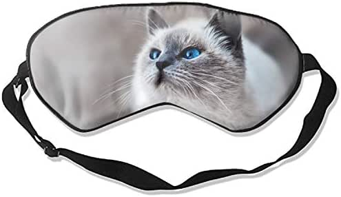 Sleep Mask,Startled Blue-Eyed Cat Mulberry Silk Sleep Mask Eye Mask for Sleeping