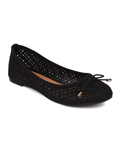 Women Bow Tie Ballet Flat - Perforated Slip On Flat - Casual Dressy Versatile Everyday Office Flat - HA53 By Alrisco - Black Faux Suede (Size: (Girls Black Hazel Shoes)