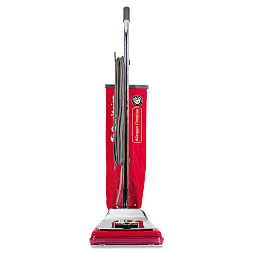 Electrolux Sanitaire Heavy-Duty Commercial Upright Vacuum, Micron Filtration, 18 lbs, Chrome/Red - one commercial upright vacuum cleaner. - Commercial Standard Upright Vacuum