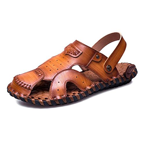 Men's Closed Toe Sandals Casual Leather Sandals Beach Shoes Summer Outdoor Hiking Trekking Shoes Brown 77HagY