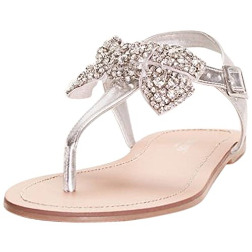 David's Bridal Metallic T-Strap Sandals With Embellished Bow Style Pia, Silver Metallic, (Womens Metallic Bridal Shoes)