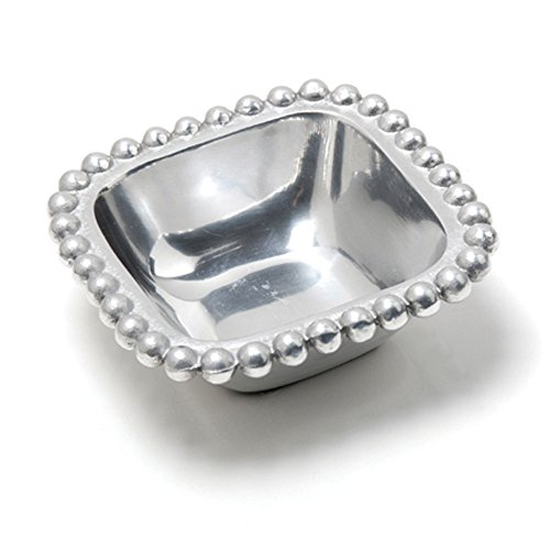 Square Aluminum Beaded Bowl Candy (Silver Candy Dish)