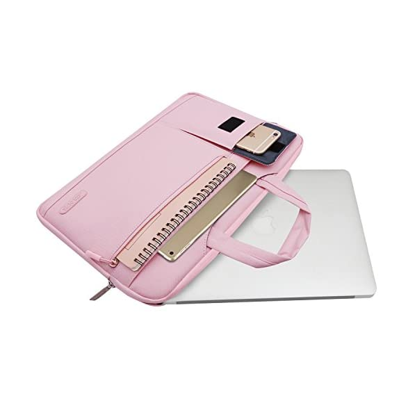 MOSISO-Laptop-Shoulder-Bag-Compatible-13-133-Inch-MacBook-Pro-MacBook-Air-Notebook-Computer-Protective-Polyester-Flapover-Messenger-Briefcase-Carrying-Handbag-Sleeve-Case-Cover-Pink