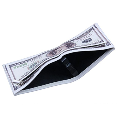 Tosangn Mens US Dollar Print PU Lether Wallet With Zipper And 6 Pockets