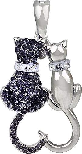 - Wearable Art by Roman Loving Cats Rhinestone Pendant Silver Tone