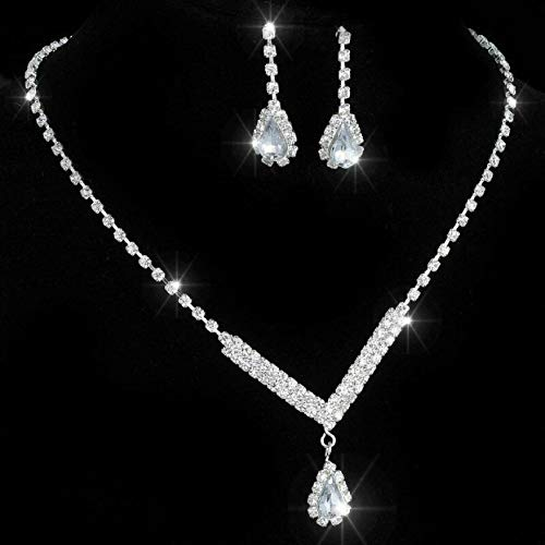 - Wedding Bridal Bride Rinestone Crystal Silver Necklace Earrings Jewelry Set #NS149