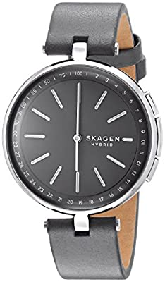Skagen Connected Women's Signatur T-Bar Stainless Steel and Leather Hybrid Smartwatch, Color: Silver, Grey (Model: SKT1401) from Skagen Watches
