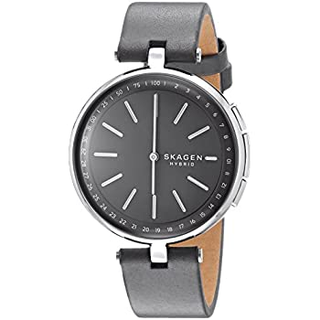 Skagen Connected Womens Signatur T-Bar Stainless Steel and Leather Hybrid Smartwatch, Color: Silver, Grey (Model: SKT1401)