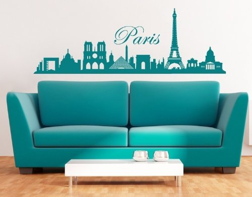 Paris City Skyline Wall Decal by Style & Apply - cityscape highest quality wall decal, sticker, mural vinyl art home decor - 3762 - Gold, 39in x 13in