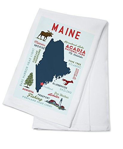 Portland, Maine - Typography and Icons (100% Cotton Kitchen Towel)